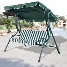 Patio Chair Swing Patio Swing Canopy Cover Black Polished Wrought Iron Based Outdoor