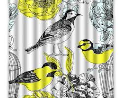 Bird Print Curtain Fabric Bird Shower Curtain Etsy