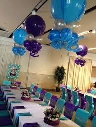 balloon arrangements nj purple turquoise bat mitzvah with alternating solid balloon