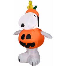 Decorating Your Yard For Halloween 4 U0027 Airblown Snoopy Pumpkin Walmart Com