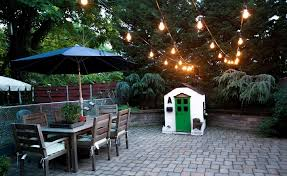 Patio Hanging Lights Paved Patio Design With Outdoor Hanging Lights And Rustic