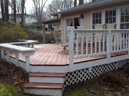 exterior splendid wood deck designs using white railing fence