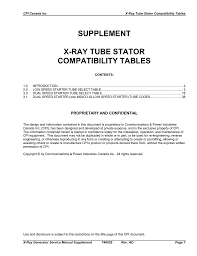 supplement x ray tube stator compatibility tables