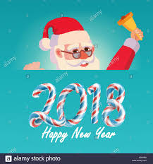 2018 merry and happy new year greeting card with santa