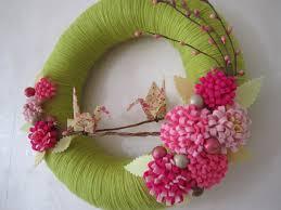 spring bloom yarn wreath origami crane pink felt flower 12