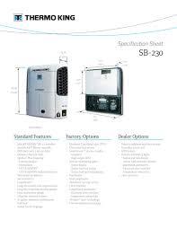 sb 230 spec sheet thermo king pdf catalogue technical