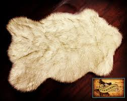 plush faux fur polar bearskin accent rug off white with brown