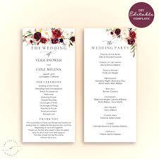 programs for weddings template template for programs