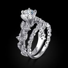 womens wedding ring sets unique womens wedding rings unique leaf design silver white gold