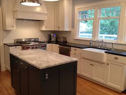 kitchen island view in 1920s portland hom custom vent hood