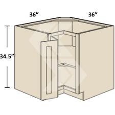 SCB Shaker RTA Maple White Square Corner Base Cabinet  Door - Corner kitchen base cabinet