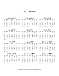 2017 calendar printable one page calendar template 2017