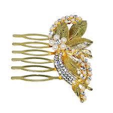 hair brooch design jewelmaze white austrian pearl leaf design gold plated hair