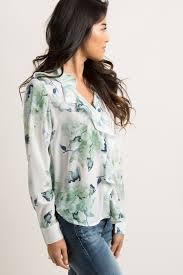 mint blouse mint green floral chiffon ruffle trim button front blouse