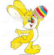 clip art of a yellow easter bunny rabbit prancing and holding up a