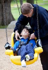 handicap swing pushing disabled on handicap swing stock image image