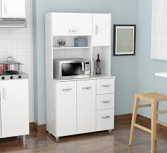 kitchen furniture white inval america 4 door storage cabinet with microwave