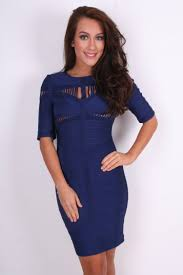 navy blue cut out 3 4 sleeved tight fitting bodycon bandage dress