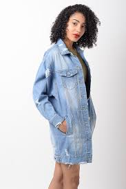 Light Denim Jacket Stylish Light Blue Distressed Oversized Denim Jacket Stylish Jackets