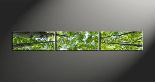 3 piece scenery green leafy trees canvas print