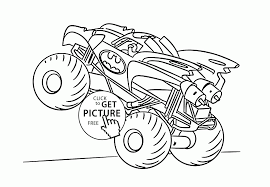 batman monster truck coloring page for kids transportation