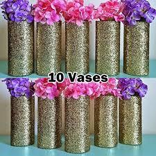 Cylinder Vases Wedding Centerpieces Amazon Com Set Of 10 Gold Glitter Glass Cylinder Vases Wedding