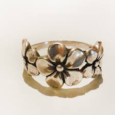 flower band 3 plumeria flower ring silverbotanica handmade jewelry