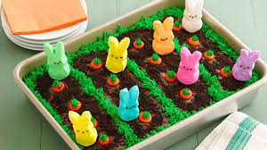 Easter Cake Decorations Peeps Easter Garden Cake Recipe Bettycrocker Com