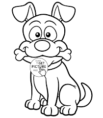 funny dog with bone animal coloring page for kids animal coloring