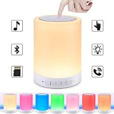elecstars led touch bedside l barisc touch control night l with bluetooth speaker portable