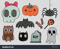 cute halloween icons cute halloween decorations stock vector