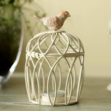 Wrought Iron Home Decor Wrought Iron Birdcage Candle Holders Classical White Handicraft