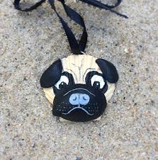 pug ornament painted seashell and black pug