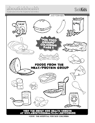 foods from the meat and protein food group great colouring