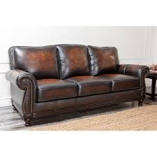 Brown Leather Sofas Abbyson Barclay 4 Piece Hand Rubbed Leather Sofa Set Brown