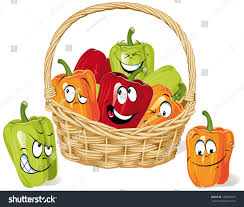 colored paprika cartoon on basket isolated stock vector 100435975