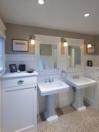 dc metro double pedestal sink bathroom craftsman with wainscoting