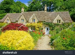 beautiful row cotswold country cottages gardens stock photo