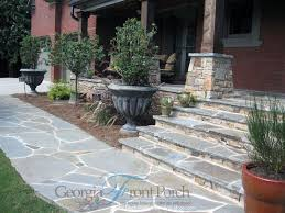 distinctive stone front porch steps walkway home building plans