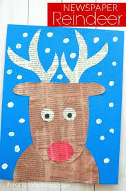 Kids Reindeer Crafts - super cute newspaper reindeer craft reindeer craft christmas