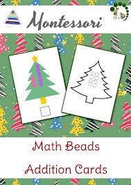 christmas themed math beads addition cards montessori nature