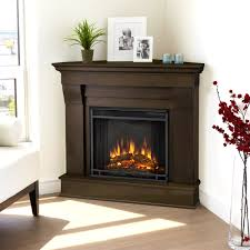 fantastic black frame for classic teak corner electric fireplace