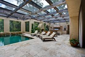 architecture charming patio design with traventine pavers and
