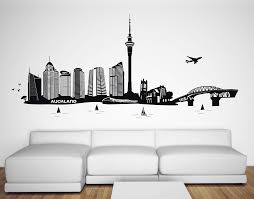 city wall art auckland city silhouette wall decal new zealand kiwiana wall art