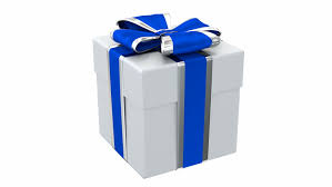 white and blue ribbon gift box with blue ribbon and bow loop rotate on white background