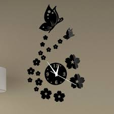 compare prices diy interior wall online shopping buy low price new modern butterfly flower sticker living mirror wall clock decal diy room interior decoration free