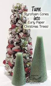 curly paper christmas tree styrofoam cones craft ideas