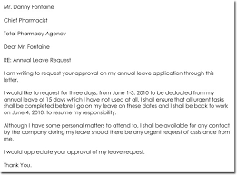 Exle Letter Request Annual Leave leave letter templates 14 sles in pdf word format