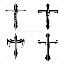 set of black and white crosses tattoo vector illustration ania