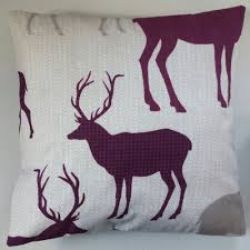 Stag Cushions Stag Deer Reindeer And Purple Tartan Cushion Cover 16 X 16